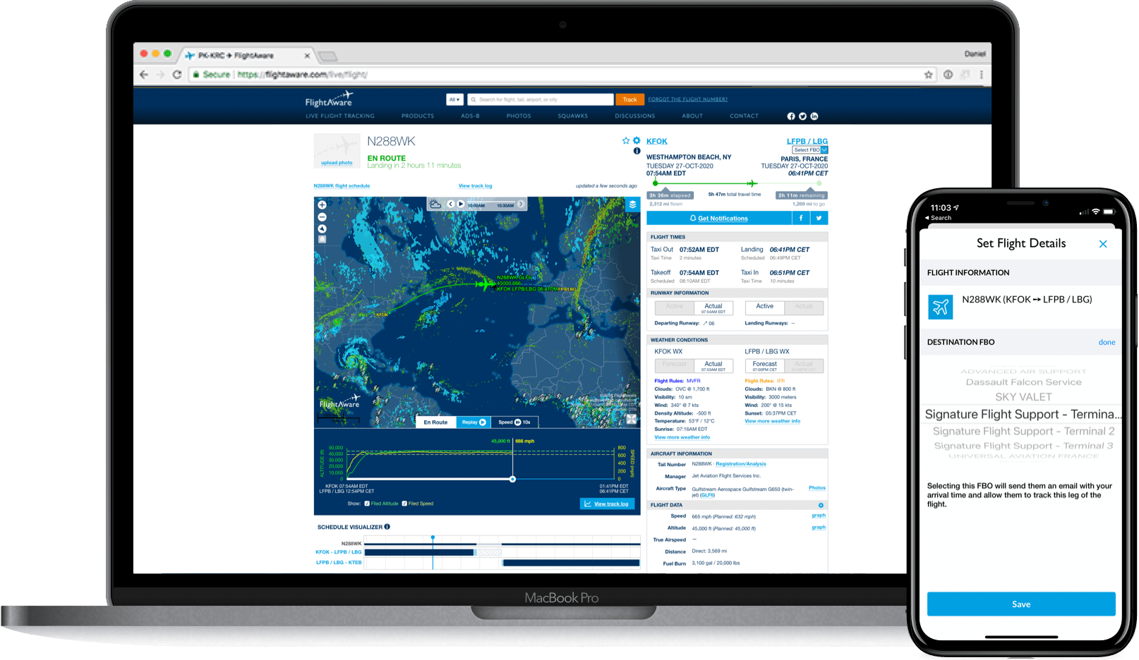 FlightAware Global web and mobile interfaces